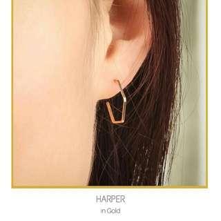 Hollow Hexagon Stud Earrings