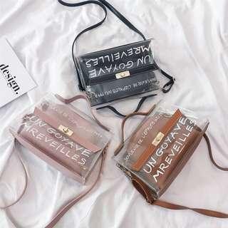 Korean Style Transparent 2 in 1 Sling Bag