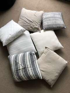 Assorted cushions/pillows