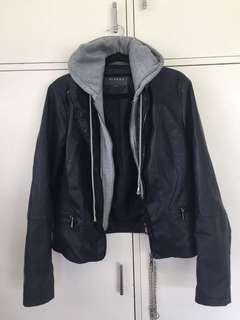 Hoodie/leather jacket
