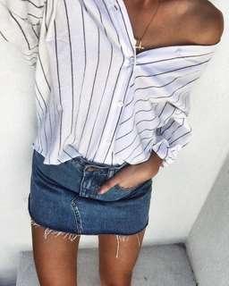 Off-Shoulder Striped Shirt