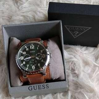 GUESS Brown Genuine Leather Watch