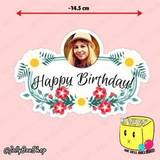 🚚 Flowery Theme Cake Topper with Photo   #PartyDeco #CakeToppers #BirthdayParty #flowers