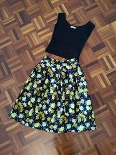 High Waist Floral Flare Skirt #MMAR18