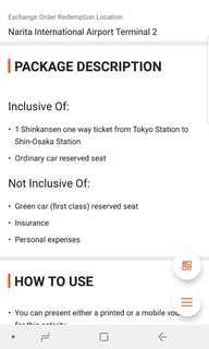 4 ONE WAY BULLET TRAIN SHINKANSEN TICKETS FROM TOKYO TO OSAKA
