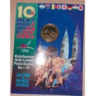 #MFEB20 2002 Malaysia 10th Men's Hockey World Cup Nordic Gold Coin (B.U.)