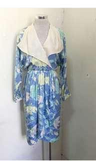 Vintage silk amaryllis print drape dress M-L