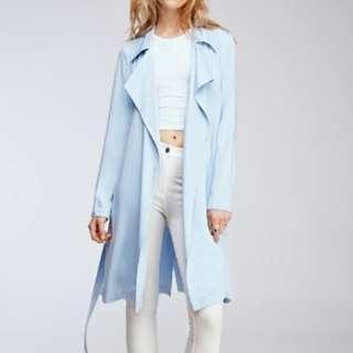 Forever 21 Light Blue Trenchcoat