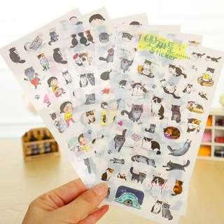 6 Sheets Korean Cat Stickers