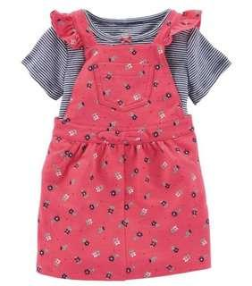 🚚 BN Carters Baby Girl Striped Floral Jumper 2 Piece Set! 12mths avail!