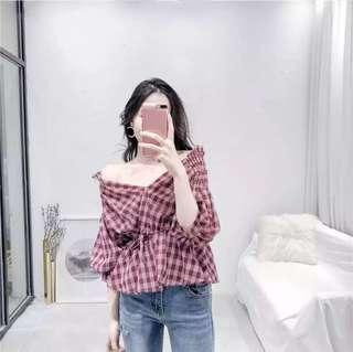 Checkered Off Shoulder Top