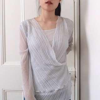 Ethereal Long-Sleeved Silver Top