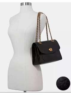 COACH Parker Shoulder Bag in Patent Leather Black/Gold