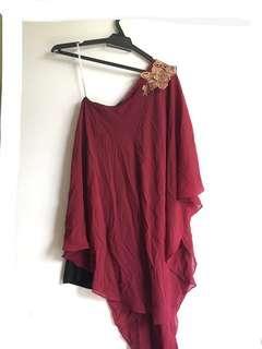Maroon Slanting Shoulder Dress