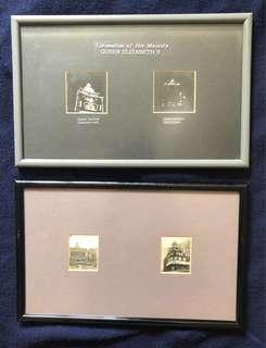 CORONATION OF H.M. Queen Elizabeth II - framed photos of Singapore landmarks