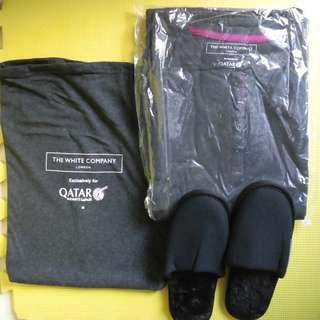 100% New Sealed Qatar Airways QR First Class White Company Pajamas Lounge Suit Size S or M 100% 全新卡達航空頭等睡衣