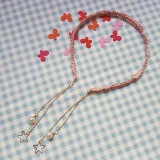 🚚 皺褶布藝星星珍珠髮箍