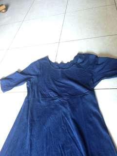 Dress panjang polos navy
