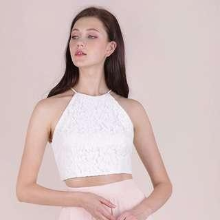 • BNWT || TTR bloom halter lace top in white