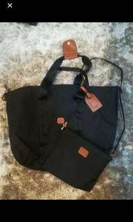 Brics Travel X tote bag in black, with sling bag.