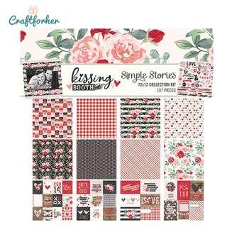 """🚚 ★Kit★ Kissing Booth Valentine Scrapbooking Collection Kit, 12"""" x 12"""" Patterned Paper and Sticker Sheet"""