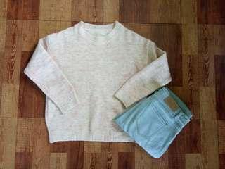 🚚 粉白混色針織毛衣#一百均價