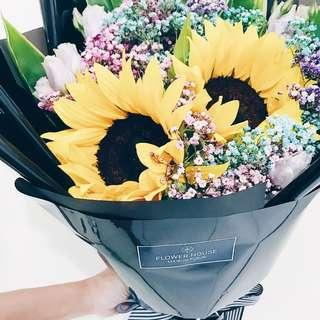 Vday Sunflower bouquet