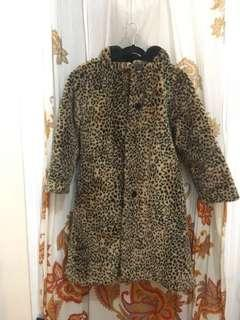 Vintage Hooded Cheetah Print Winter Coat