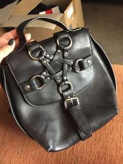 Black Leather Pentagram Bag