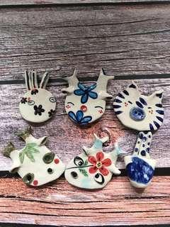 陶瓷公仔磁石 set of six Handmade ceramic magnets