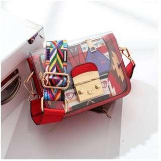 INSTOCK!! 2018 Summer Clear Mini Sling Bag INS Hotselling Wide Ribbon Transparent PVC Shoulder Hobo Handbags