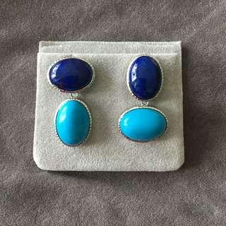 Detachable turquoise with lapis lazuli earrings