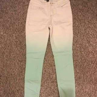 Forever 21 ombré mint/white denim jeans