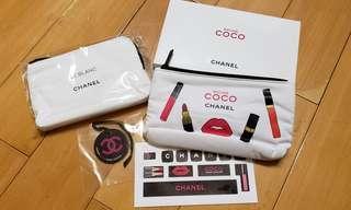 Chanel coco pouch makeup pouch 化妝包 拉鍊袋 小袋子 1set 2個加貼紙,吊牌