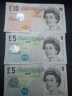 [OLD NOTES] GBP £10(1pcs) & £5(2pcs)