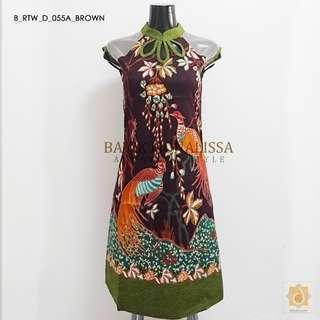 Batik Qi Pao in Brown