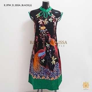 Batik Qi Pao in Black Phoenix (JUMBO)