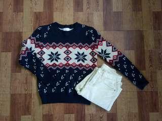 🚚 深藍色雪花針織毛衣#一百均價