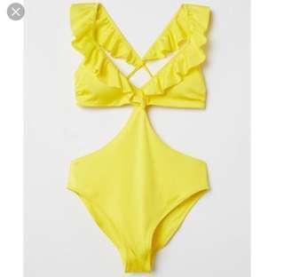 H&M yellow cut-out monokini
