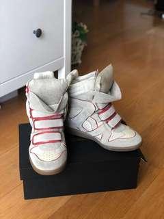 潮人必備 Isabel Marant 白色 內增高球鞋