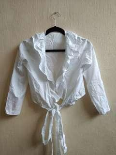 [BN] Ruffle Victorian Era Vintage Self Tie Long Sleeve White Cotton Linen Airy Girly Feminine Korea Top Blouse Shirt