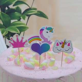 🚚 New 20pcs cake topper unicorn decoration cupcakes party little pony rainbow birthday cake