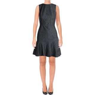 RRP $160! NWT LAUREN RALPH LAUREN Dark Blue Denim Dress Flounce Hem US 8