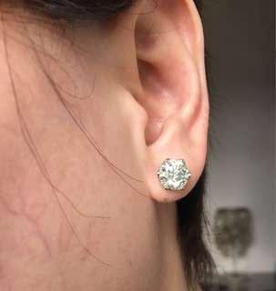 Price marked down from 48,000 to 40,000 2ct face each moissanite set in 14k white gold