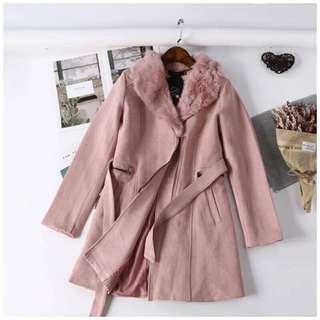 🚚 玫瑰粉毛絨拉鏈綁帶大衣外套