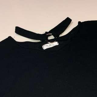 black tee with neck detail