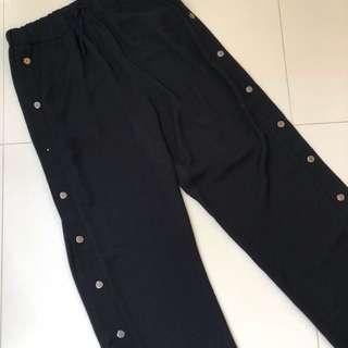 black snap button down pants