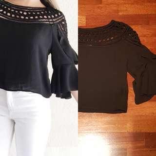 H&M black crochet top