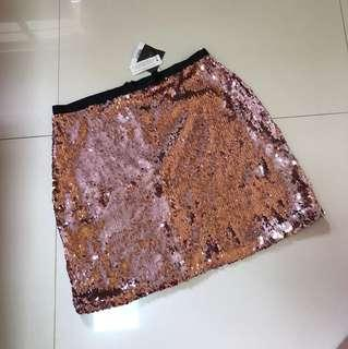 pink dazzling sequined miniskirt