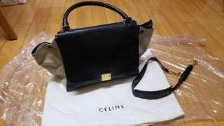 Rare 絕版停產 原價2萬 Celine Trapeze Bag small beige black dark blue navy 靚色新淨